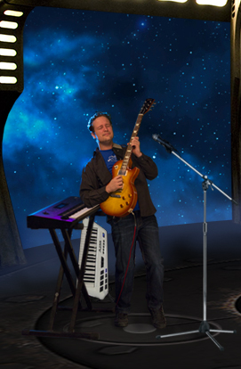 Progressive Rock member AeonSatori Jonathan Timpe with Gibson Les Paul, Korg Wavestation, and Alesis Vortex Keytar