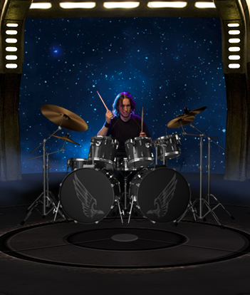 Progressive Rock member AeonSatori Tyler Timpe with double bass drum kit