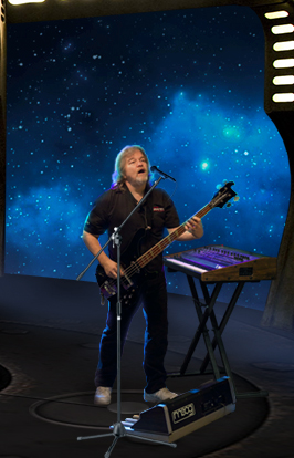 Progressive Rock member AeonSatori Jeff Timpe with moog bass pedals, OB8 synthesizer, Rickencacker 4001 Bass